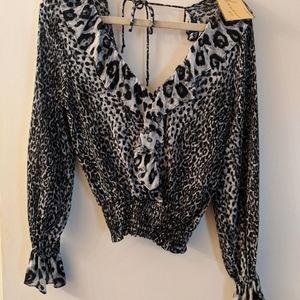 NWT Vintage Havana leopard backless ruffle top
